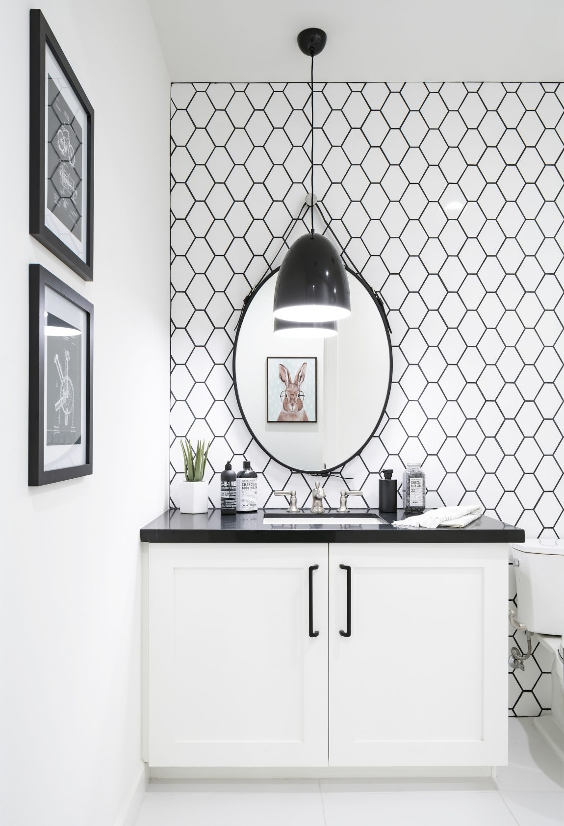 Modern Bathroom with Black and White Backsplash