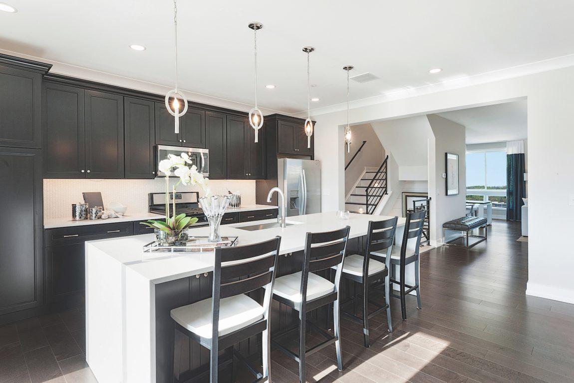 Modern kitchen with waterfall edge island