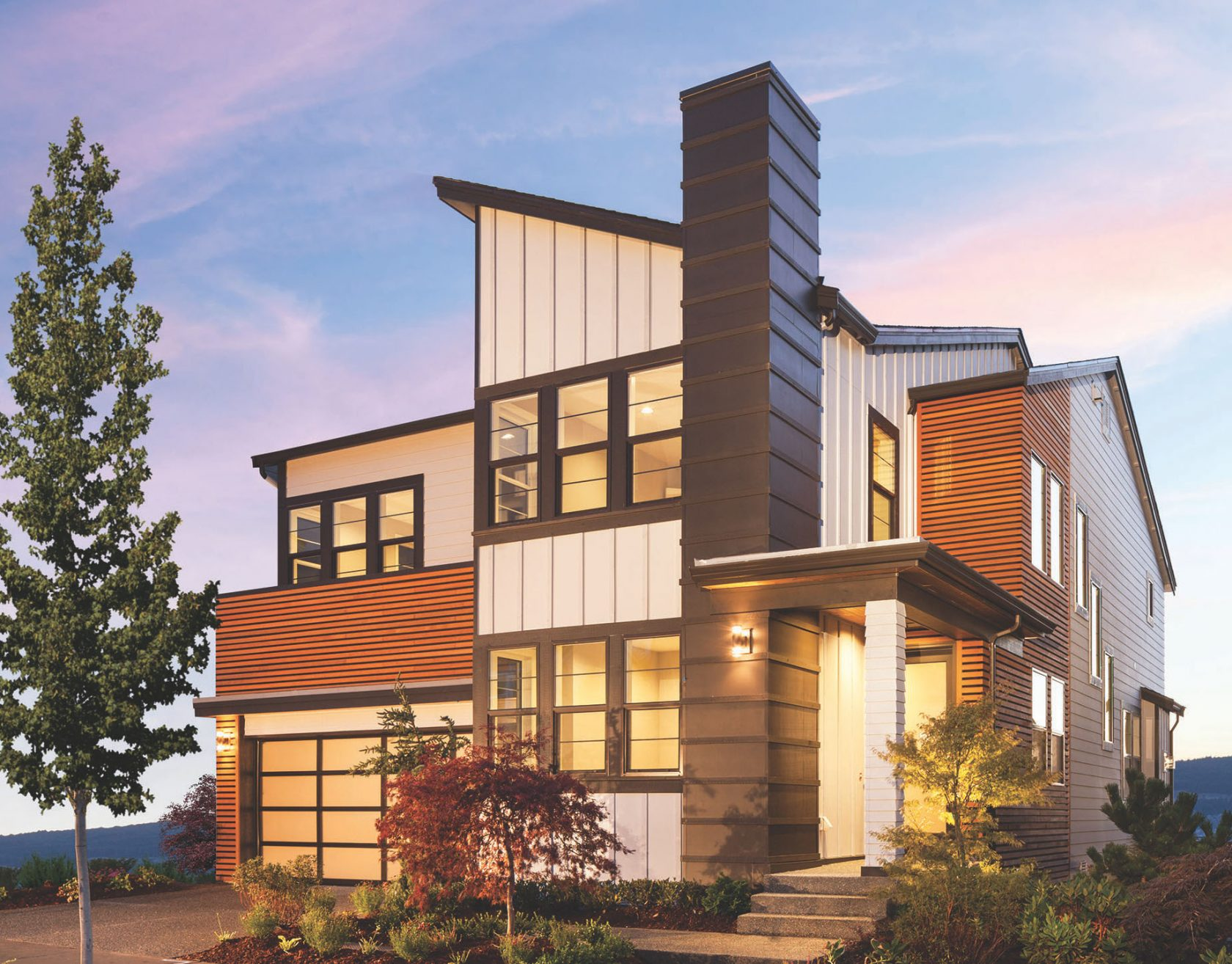 Exterior of a modern single family house in Portland, Oregon.