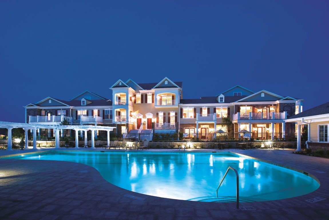 Attached home exterior with pool
