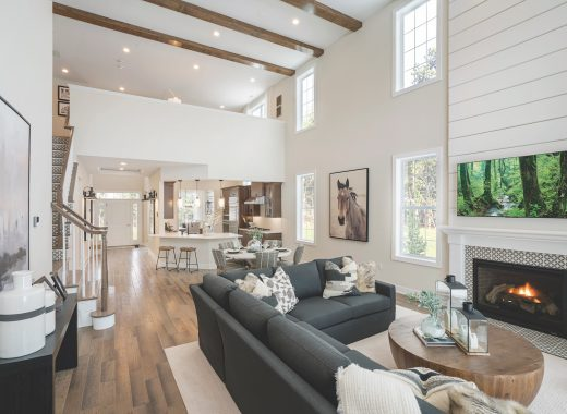 Family room with wooden beams