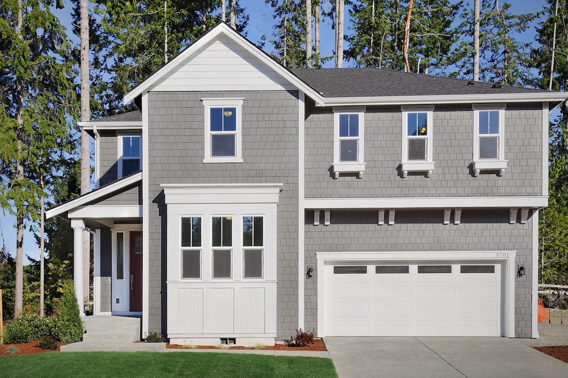 Home with gray and white exterior