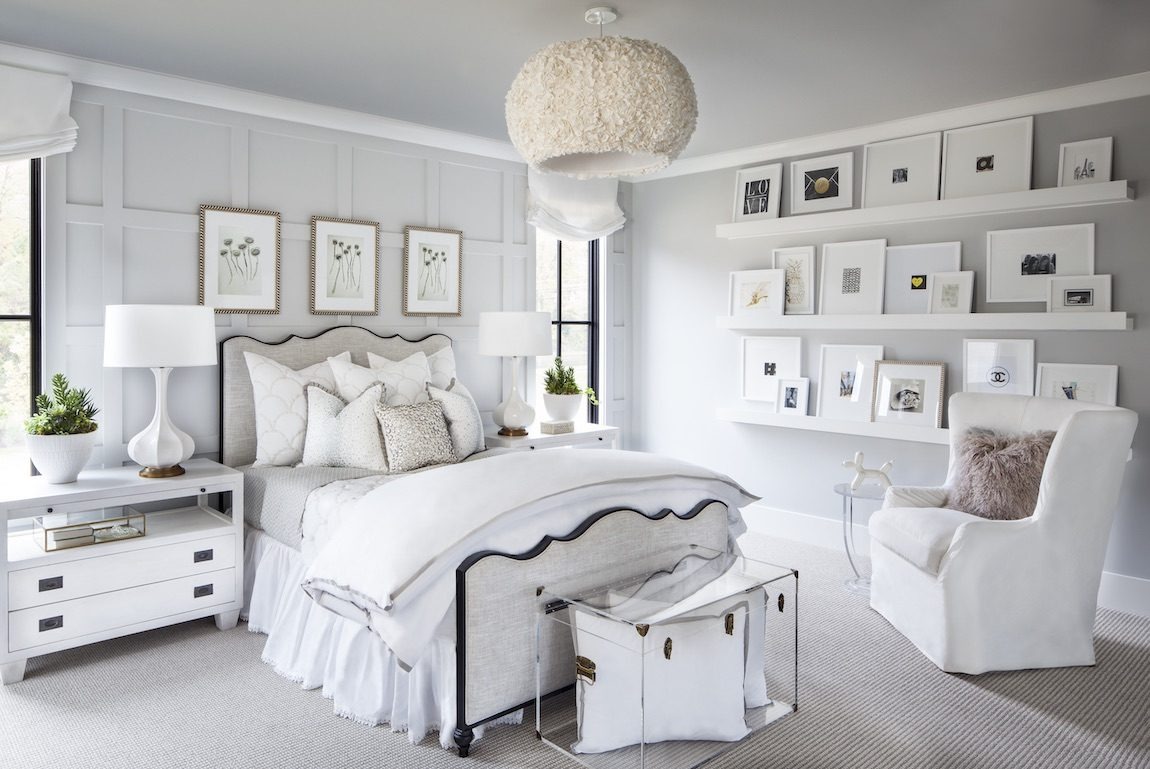 Bedroom with white color scheme and gallery photos