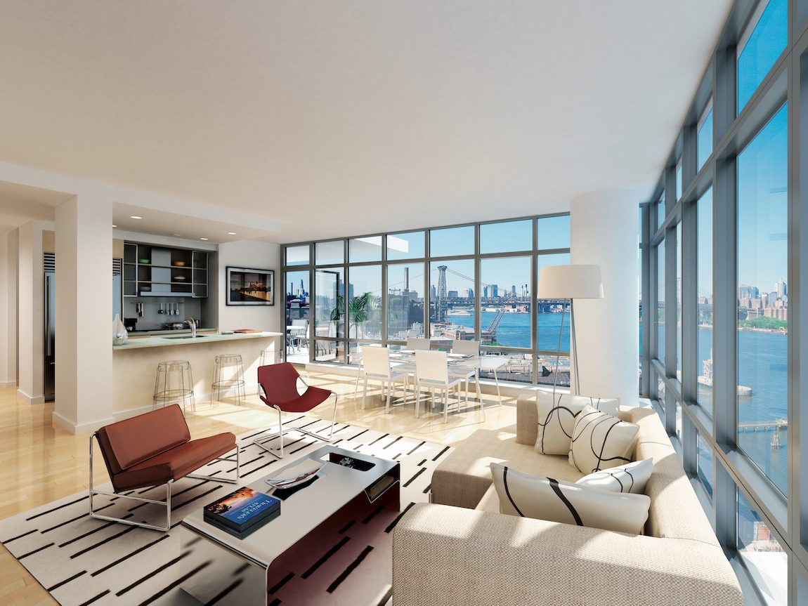 Living room with nautral lighting, floor to ceiling windows and a view of New York City.