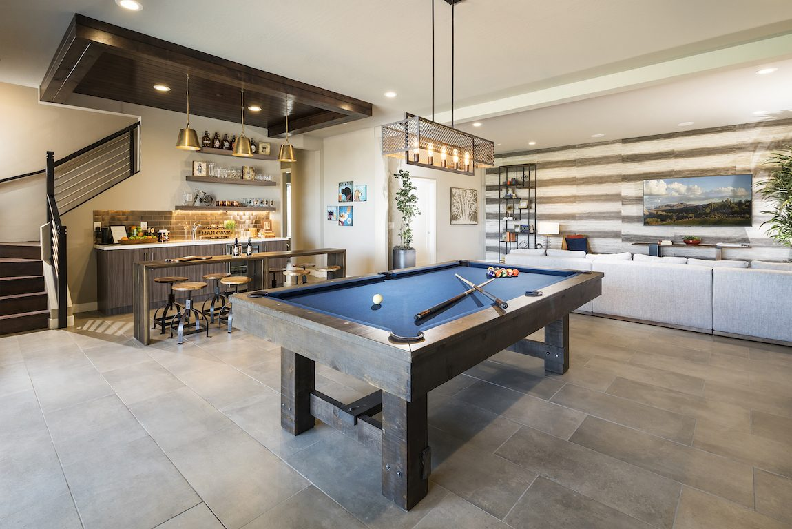 Pool table with bar area.