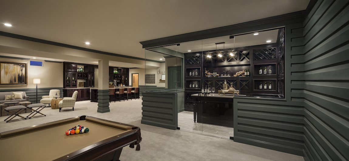 Basement with entertainment area.