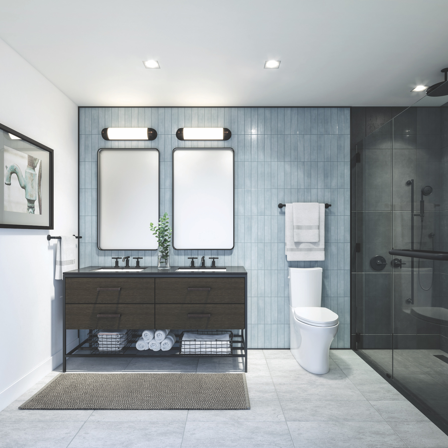bathroom with floor and wall tiling, dual vanity display, and innovative toilet