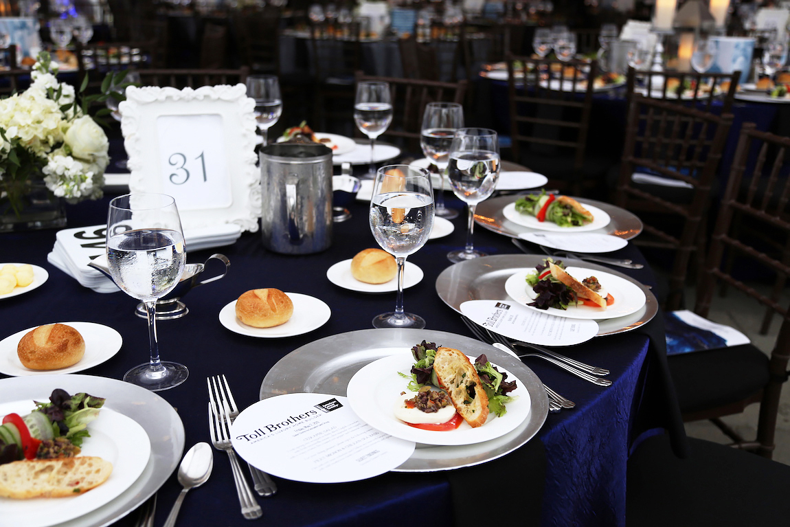 Place setting with food and cutlery