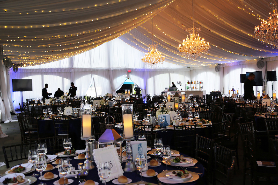 Magical setting with tables and tent at Waterworks in Philadelphia