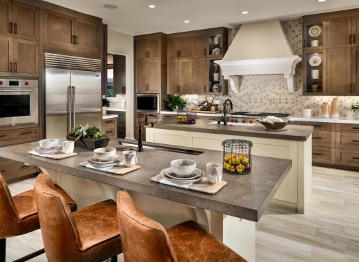 Double kitchen design in California home.