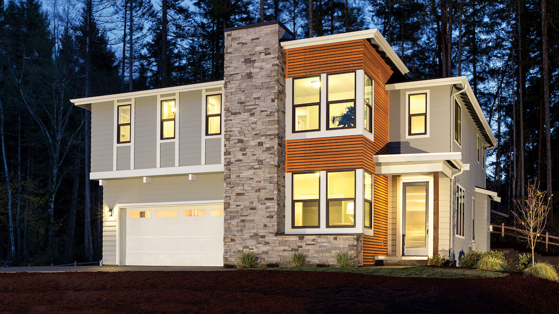 Innovative Pacific Northwest exterior built with multiple siding materials