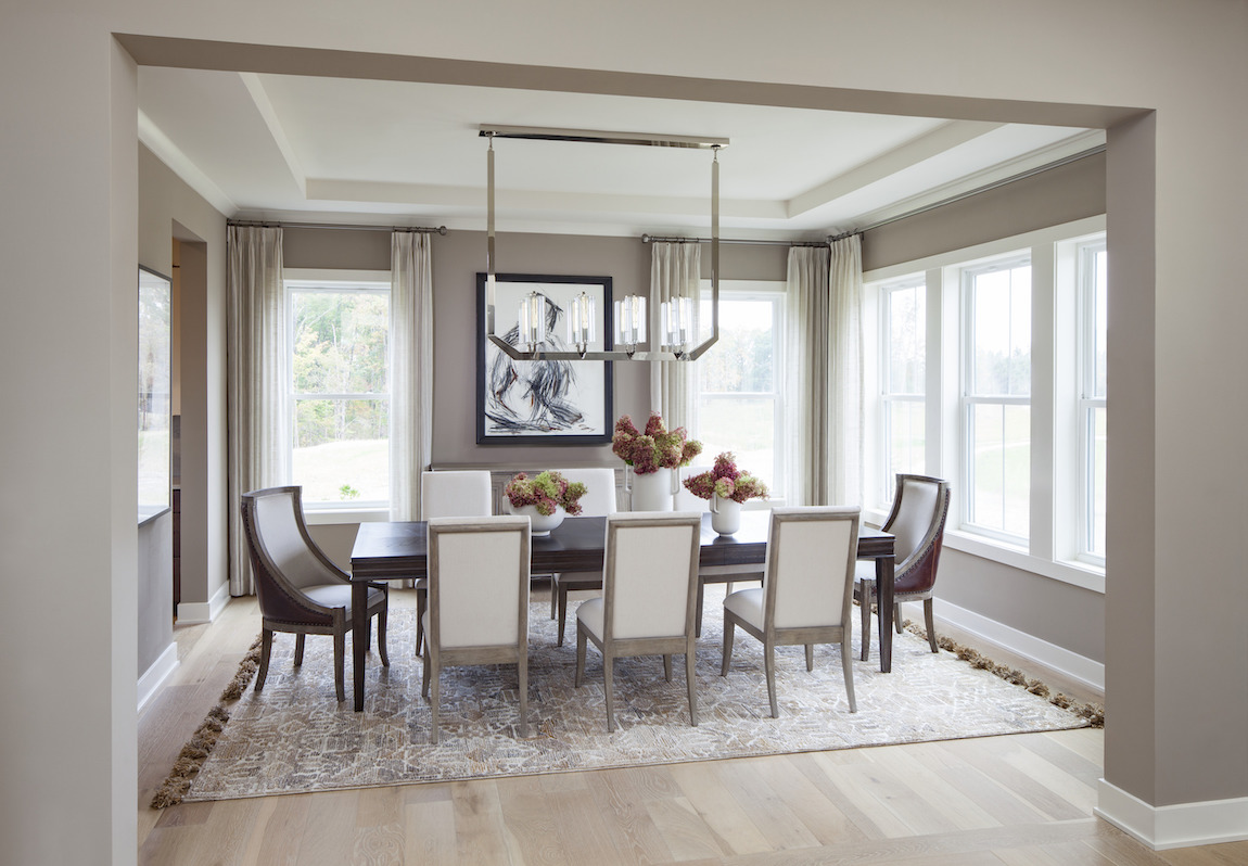 Formal dining room highlighted by  innovative lighting fixture and tray ceiling