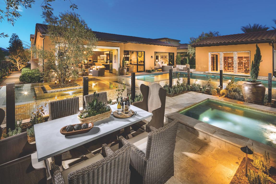 Luxury backyard with ample outdoor lighting