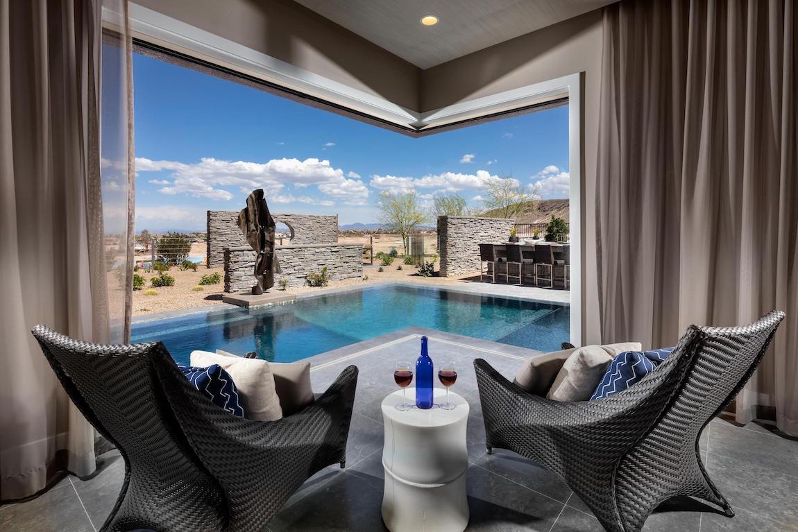 Stunning indoor-outdoor space next to pool