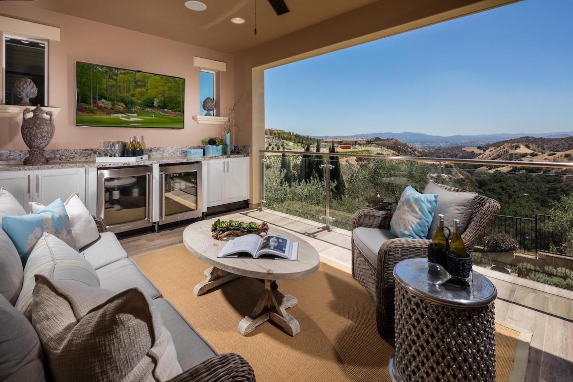 Outdoor room overlooking beautiful California landscape