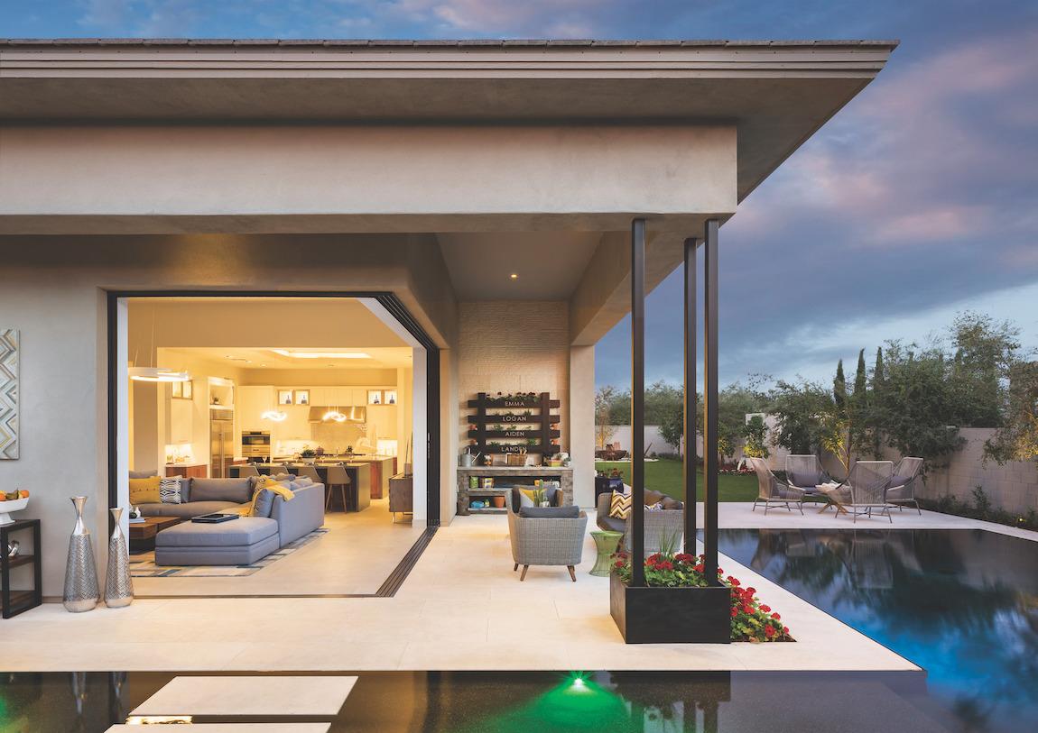Sleek patio design with spacious corner entryway
