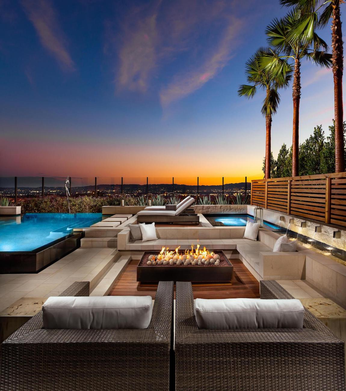 Fire pit patio with amazing view of California sky