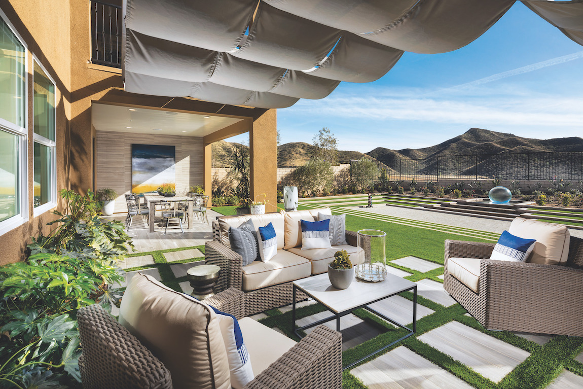 Expansive patio highlighted by canopy overhead