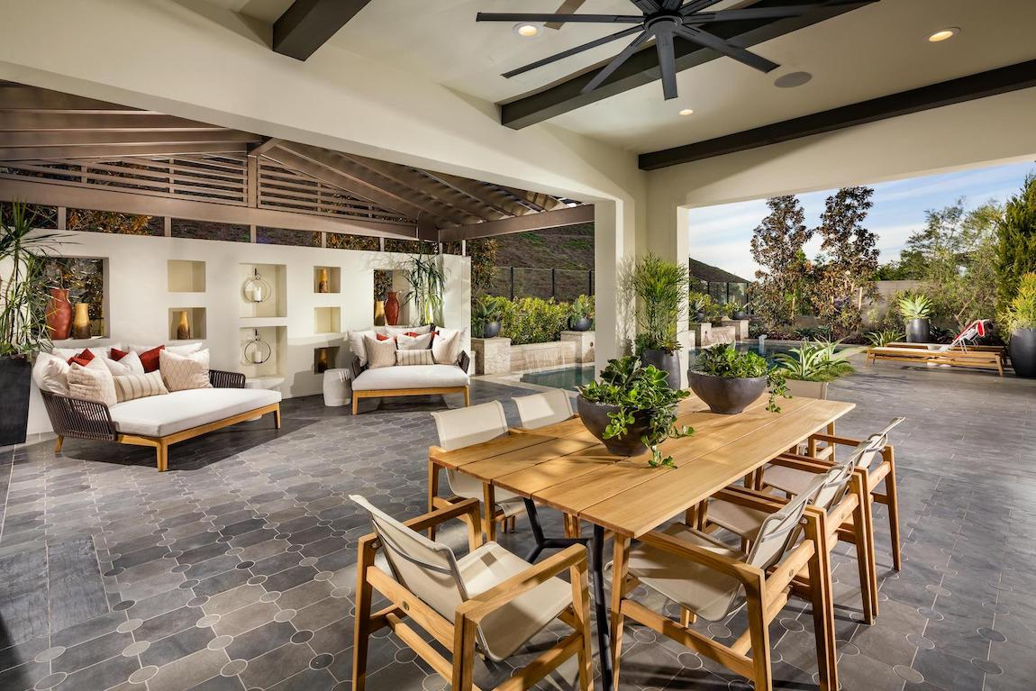 Spacious patio with dining and lounge space