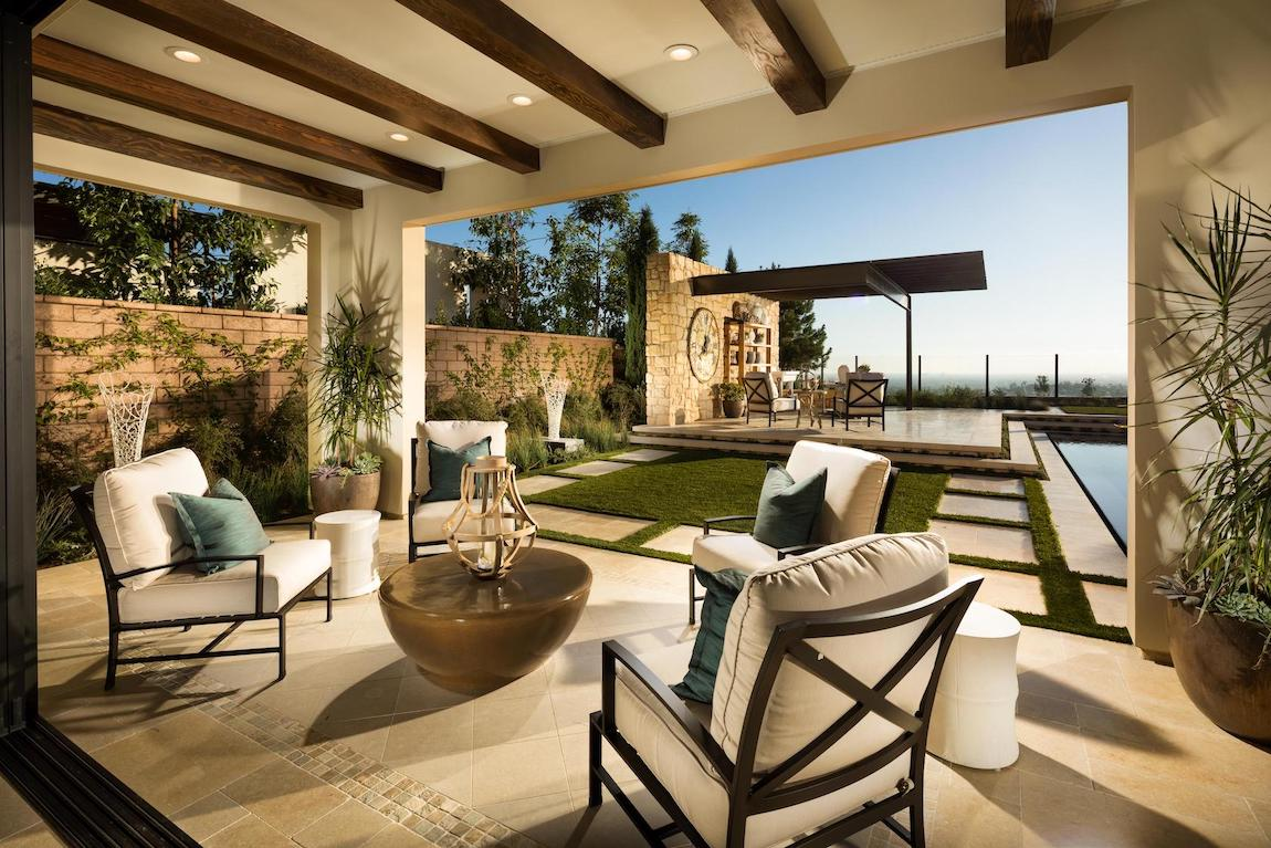 Amazing covered patio with wood beam accents