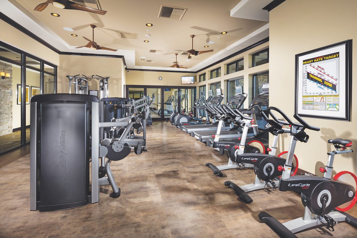 Apartment living gym facility with expansive range of workout equipment from bikes to weight machines
