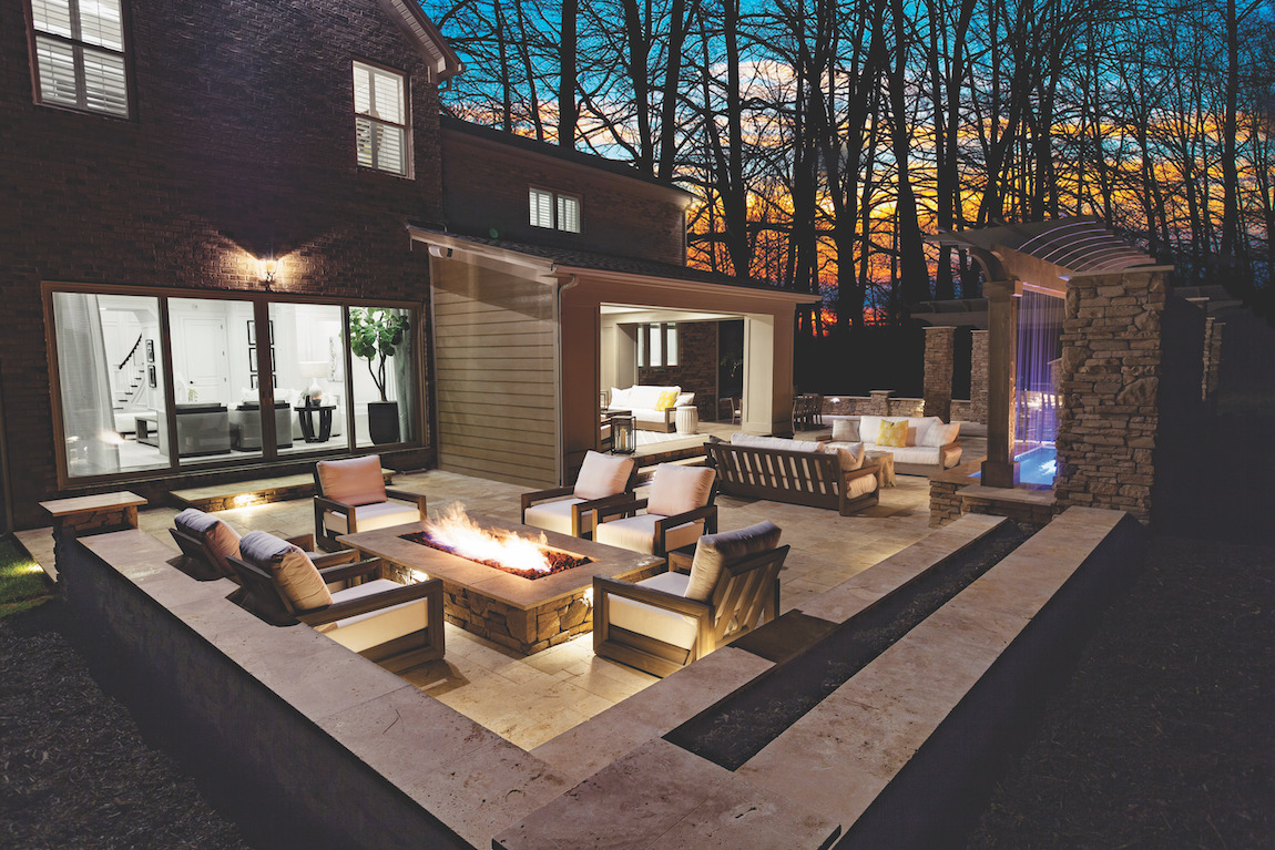 Calming fire pit patio with two separate seating areas