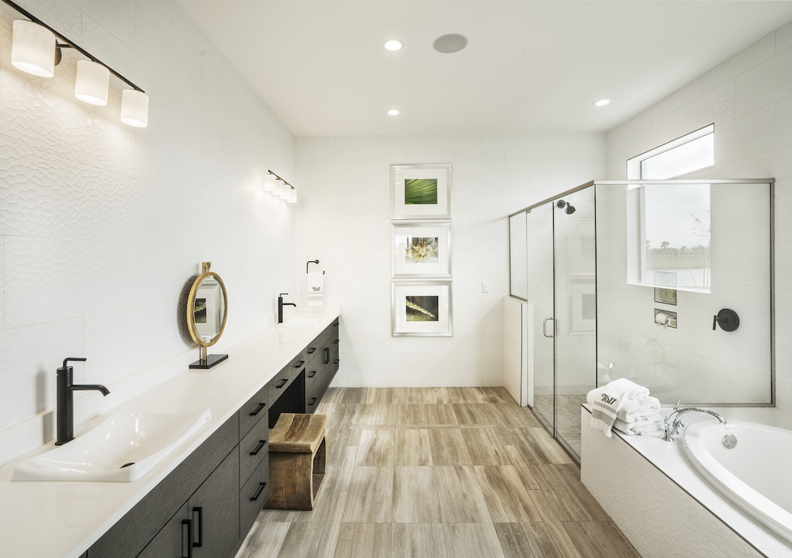 Bathroom highlighted by long vanity countertop with DemiLav sink fixtures