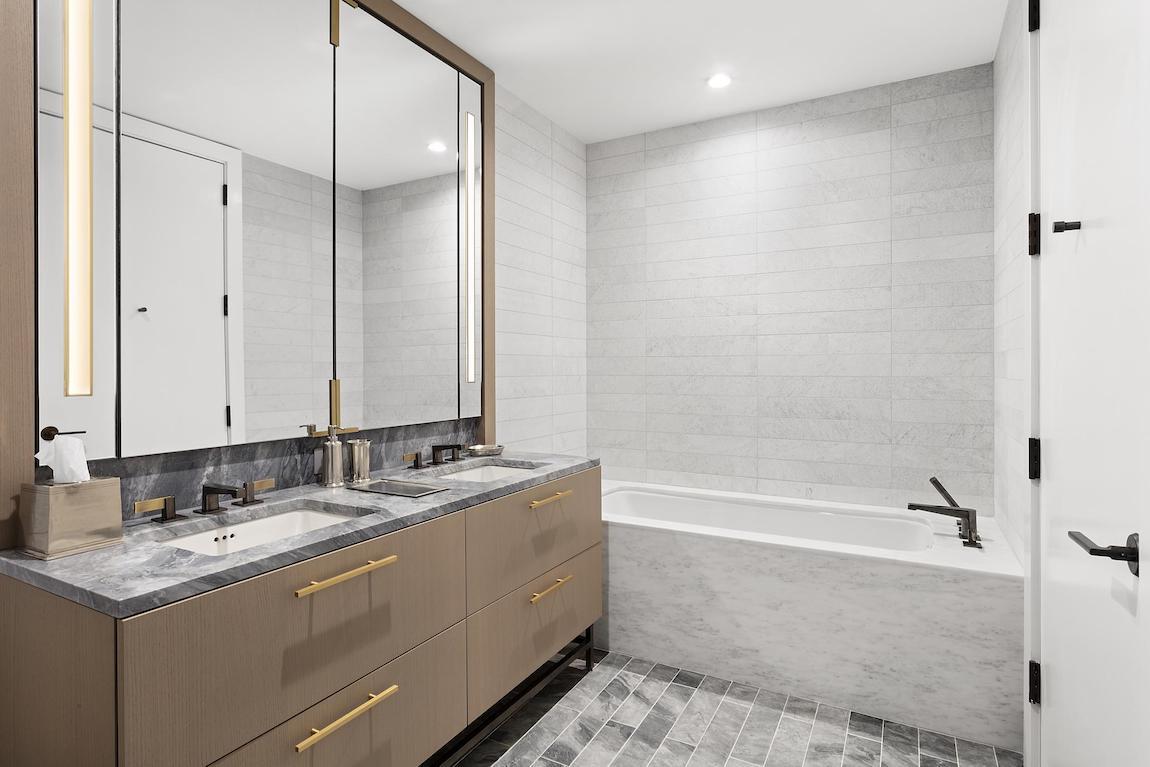 Sleek vanity design in luxury bathroom