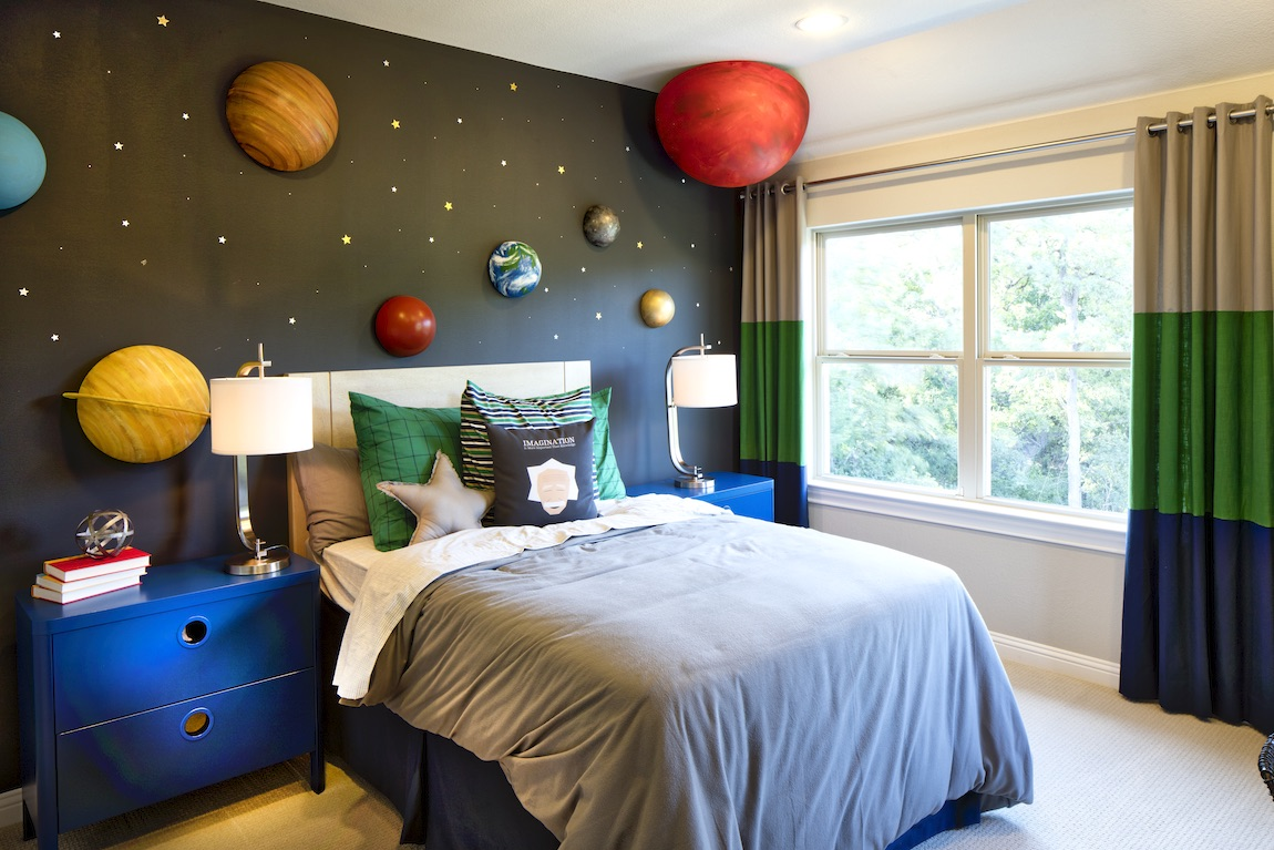 Planet on walls with space interior design for kids