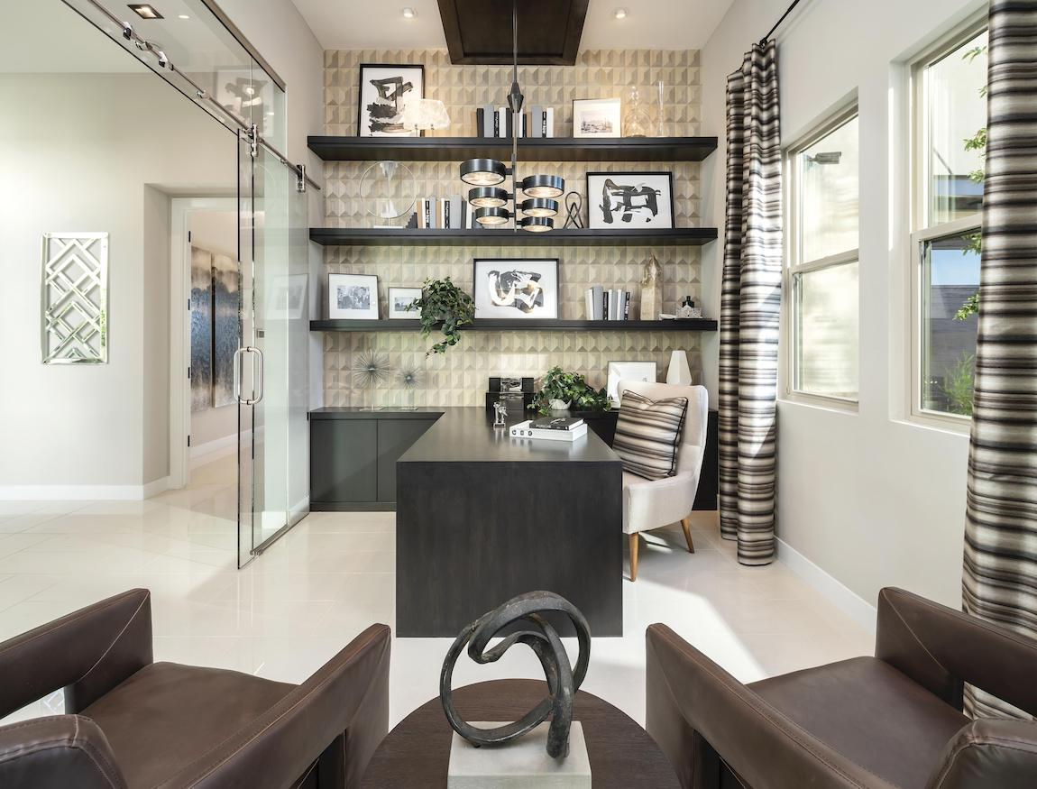 Elegant home office adhering to Feng Shui design principles