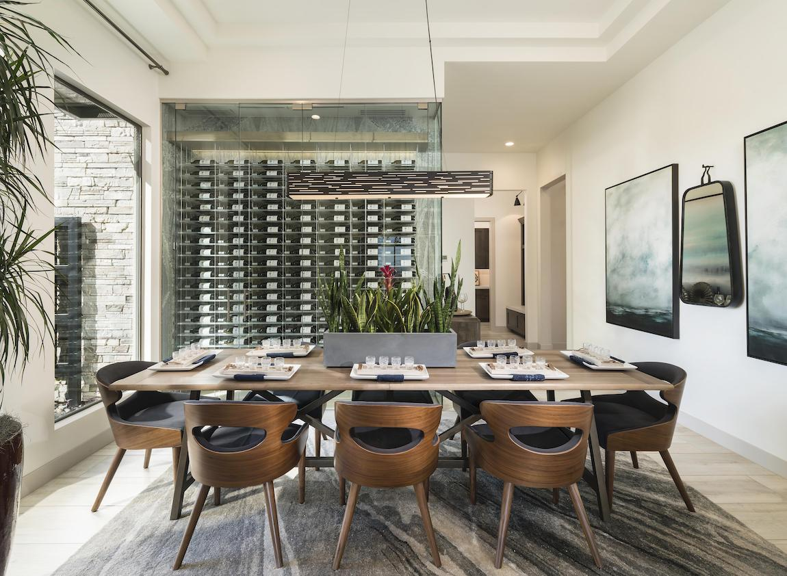 Contemporary dining room with sleek tablescape design