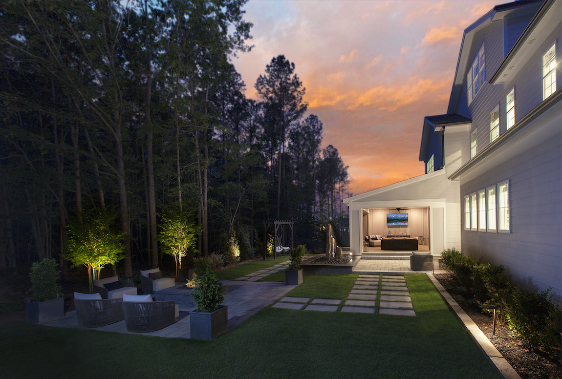 Stallworth model's luxe backyard space from Jordan Pointe located in New Hill, NC