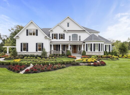 Exterior of new home with landscaping in New Jersey.