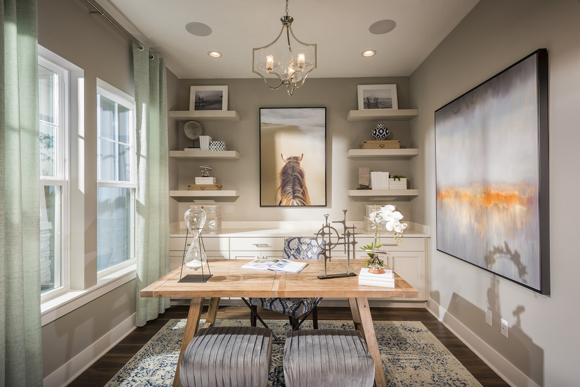 Space with ample shelving and drawers for maximum home office organization