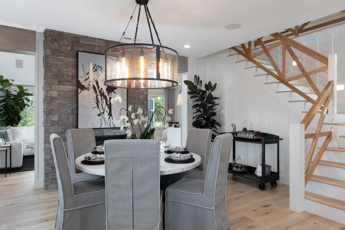 Lovely dining space with decorative lighting ideal for holiday parties