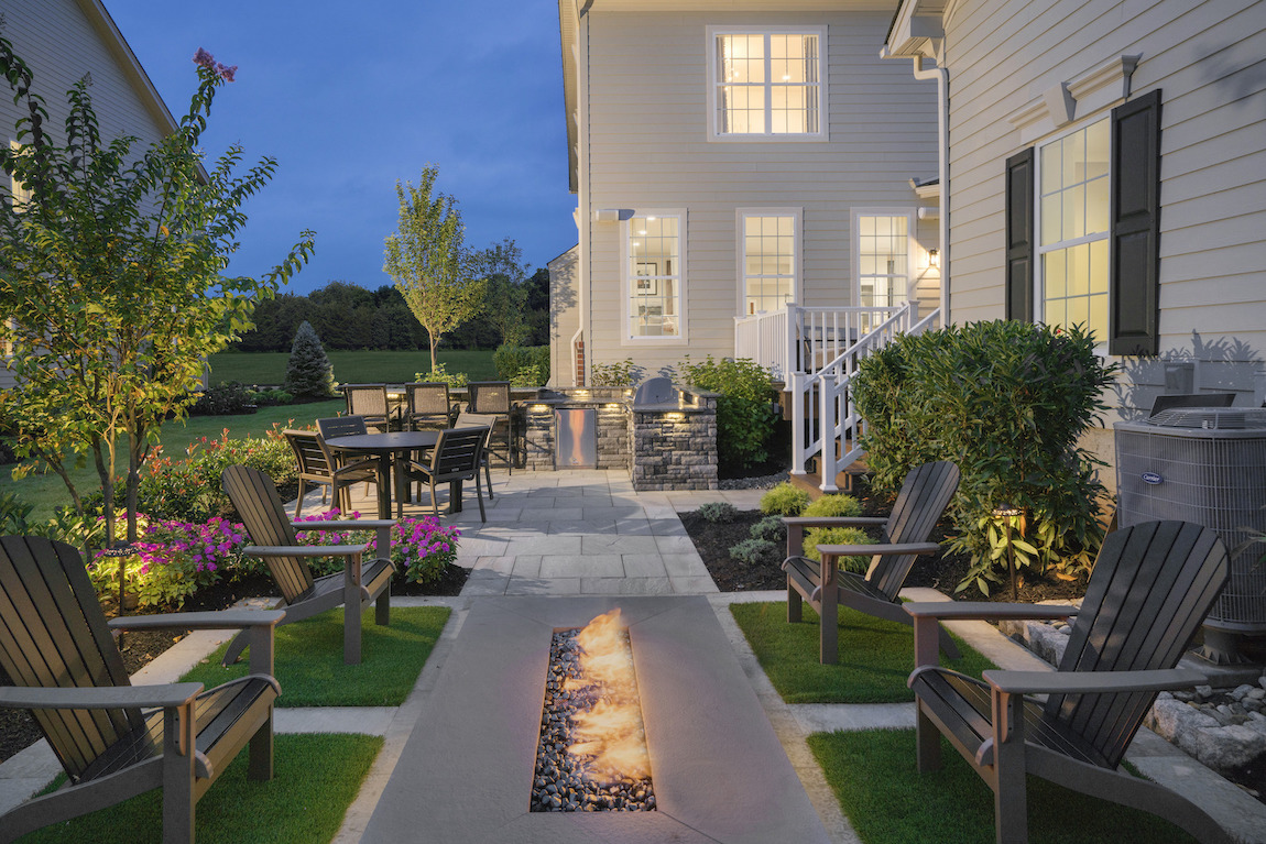 Modern patio with outdoor fire pit