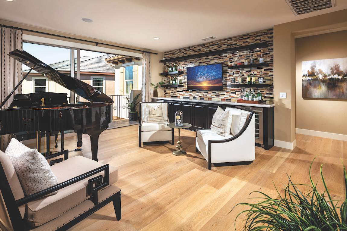 Musically inspired loft with connected devices like speakers