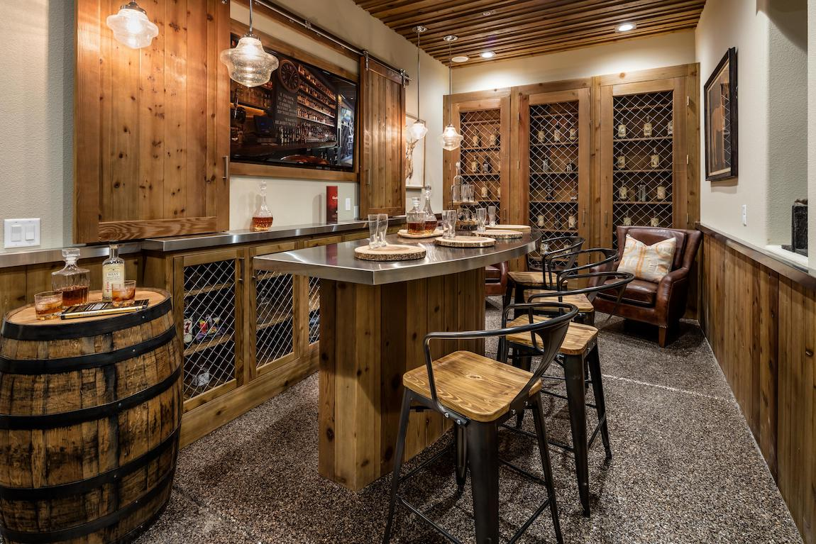 Timeless wine room design highlighted by rustic ambience