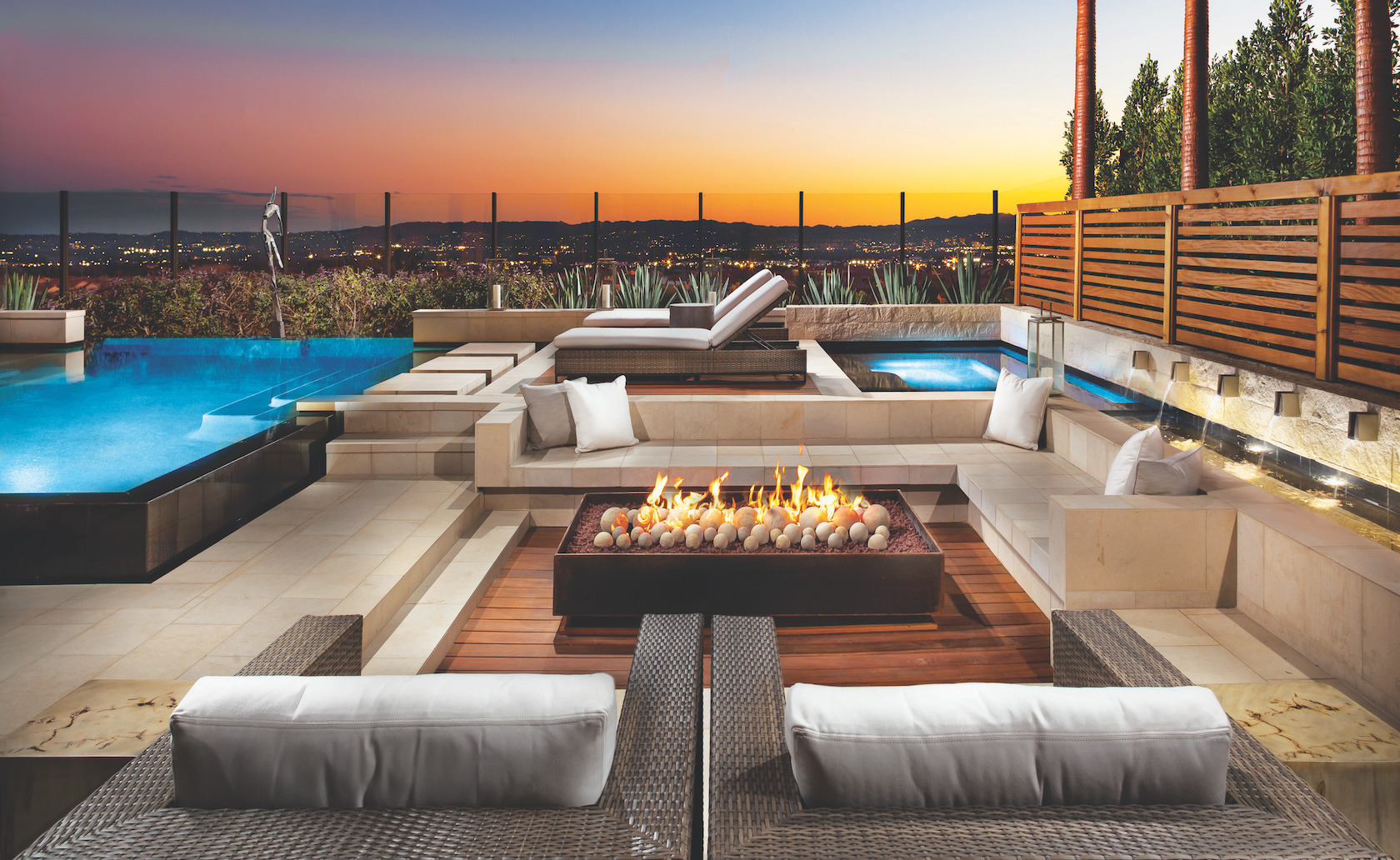 Fire Pit in a Backyard of Luxury Home
