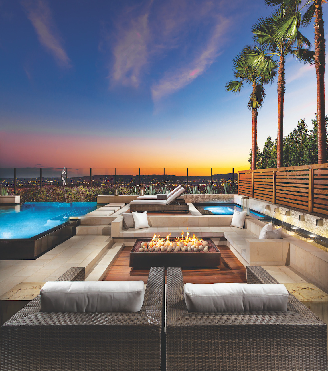 Outdoor fire pit with panoramic view