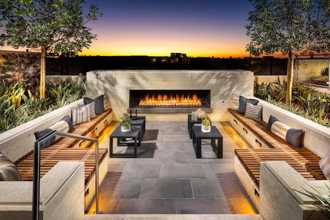 Linear fireplace in seating area