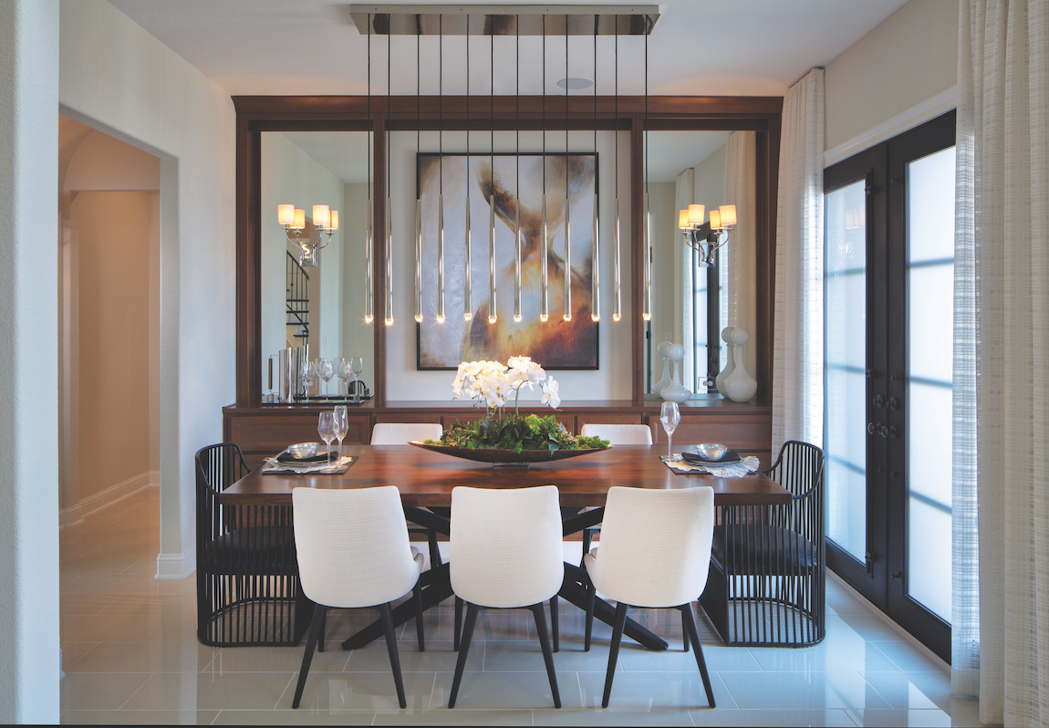 A transitional dining room that combines interior design styles to create a unique, unified atmosphere.