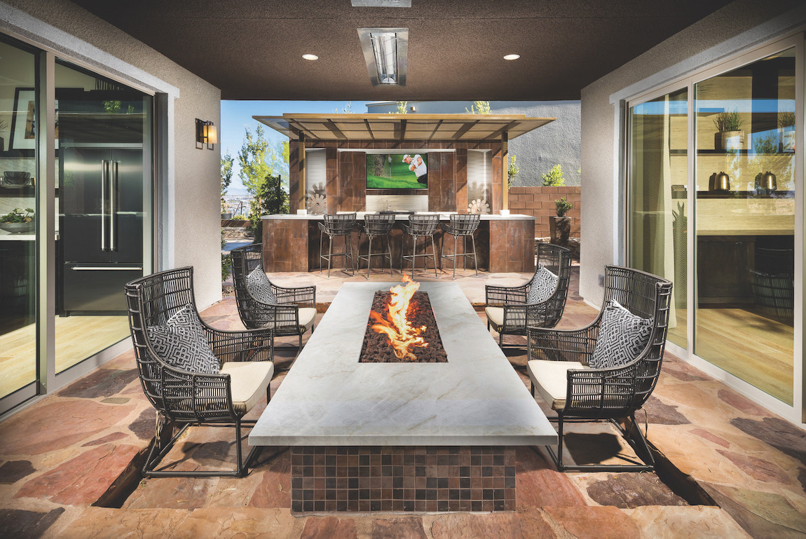 Courtyard featuring gas fire pit table