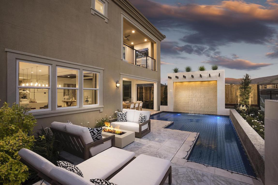 Outdoor fire pit and pool area