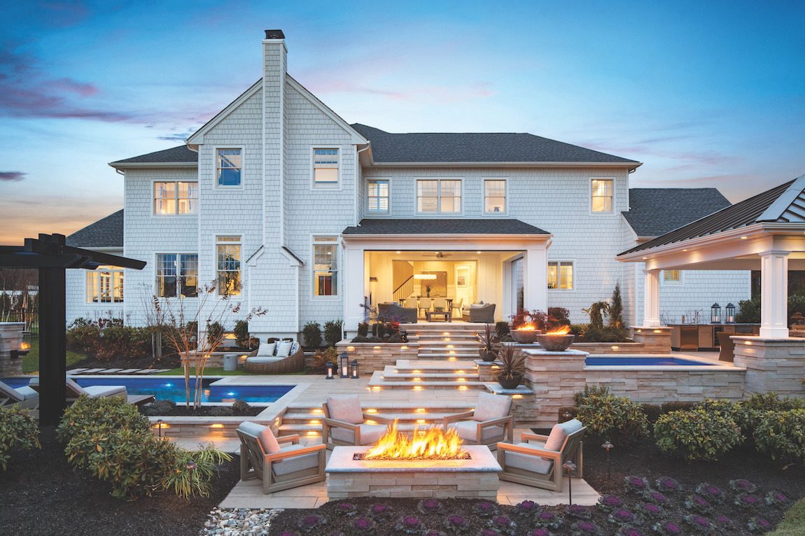 Luxe outdoor living with exterior hardscape lighting