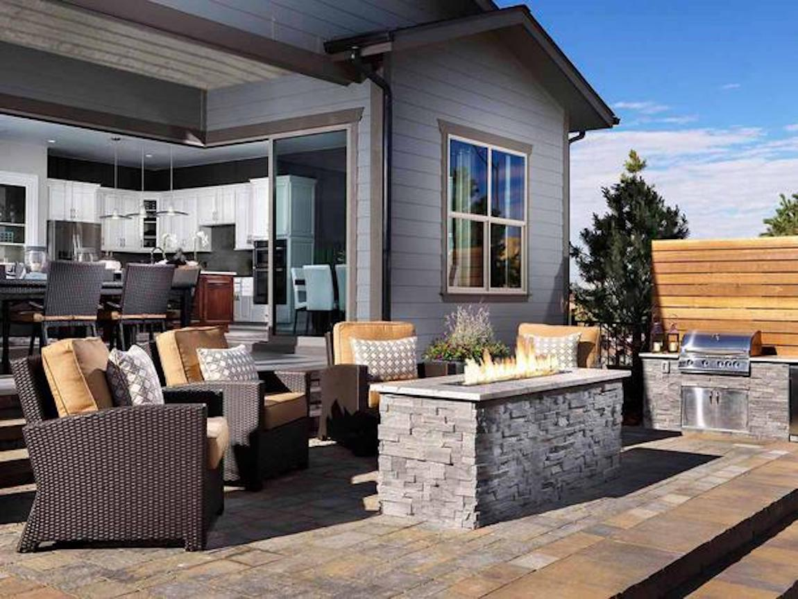 Outdoor furniture with fire pit