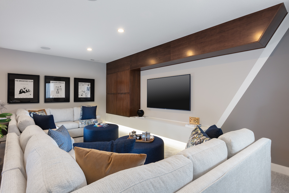 Technology in basement home theater.