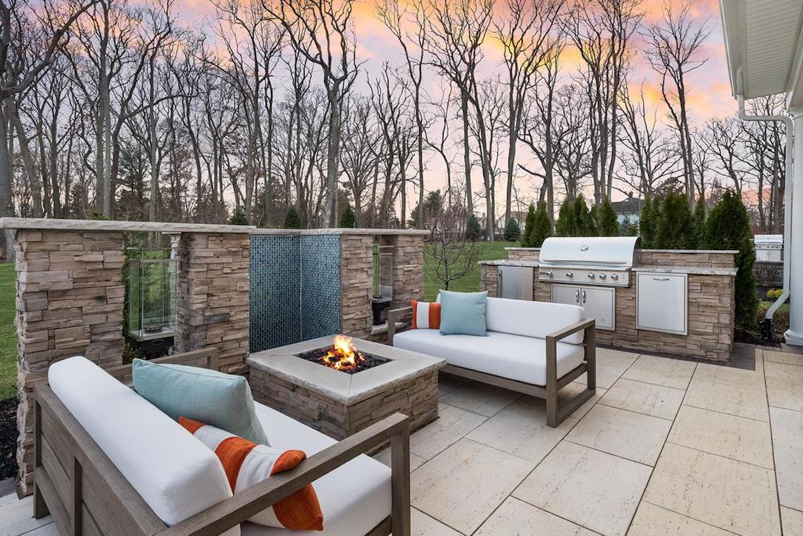 Stone fire pit on patio