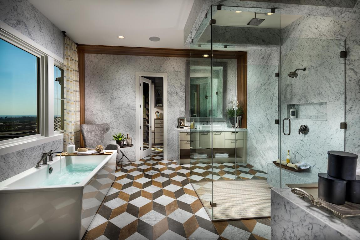 Stunning master bath with freestanding tub and luxe shower design