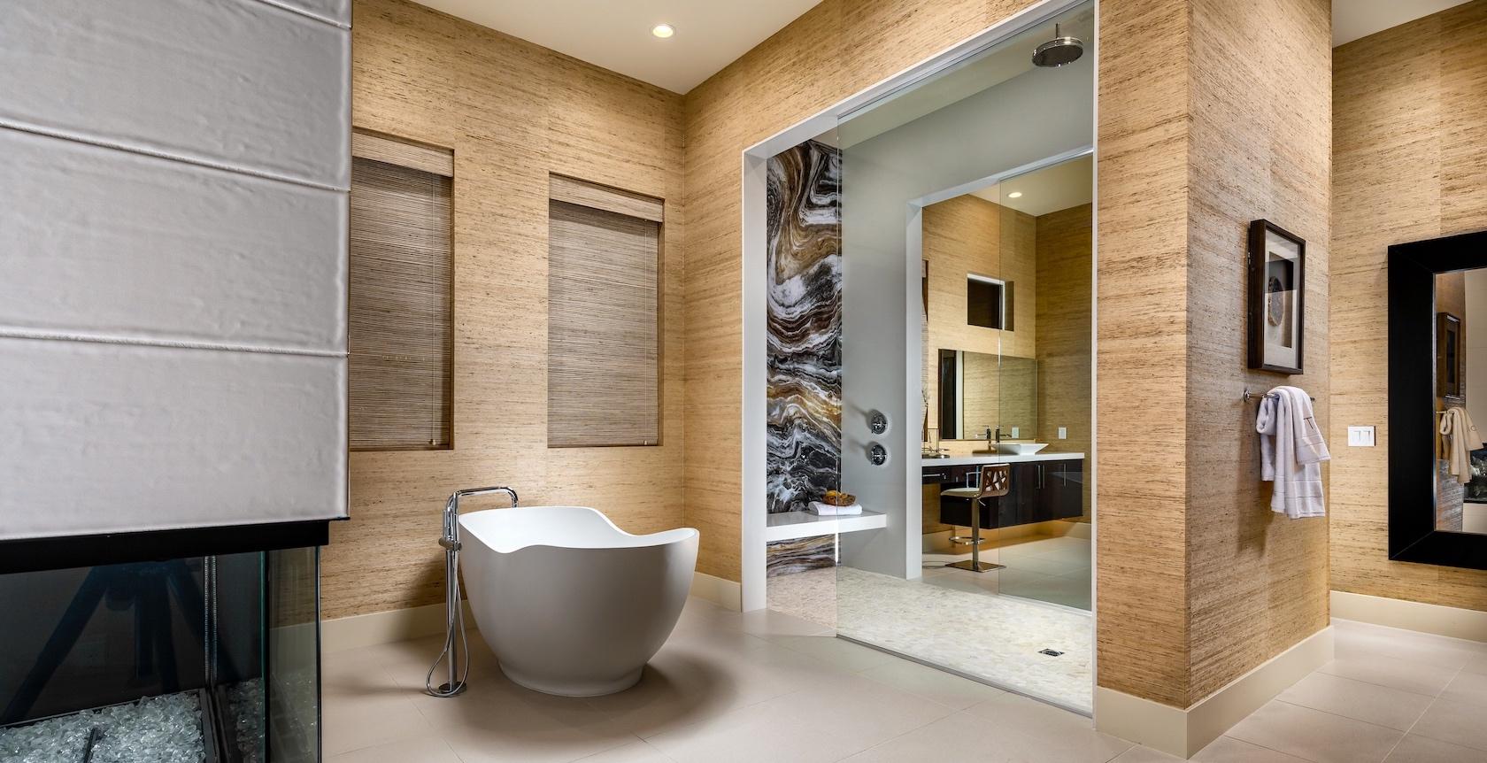 Spa-Like Master Bathroom With a Freestanding Bathtub